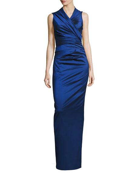 Nocky Stretch-Taffeta Column Gown, Blue