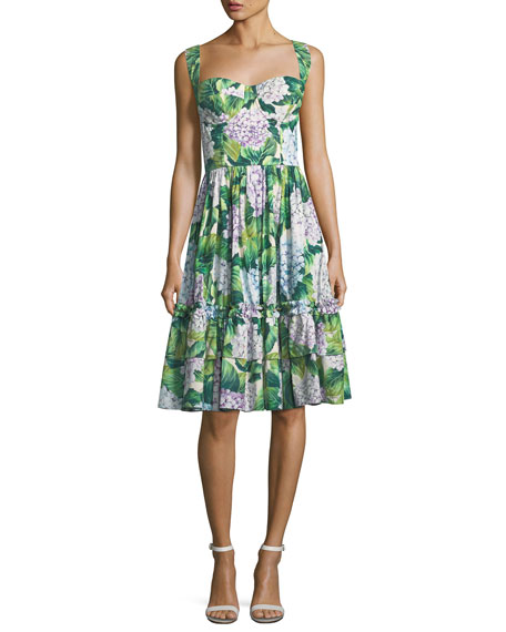 e497c8aaeb9 Dolce   Gabbana Sleeveless Hydrangea-Print Poplin Dress