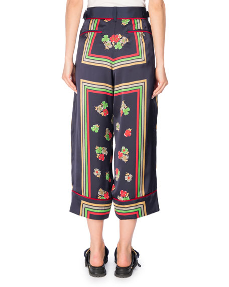 Cropped Floral-Print Pants, Multi