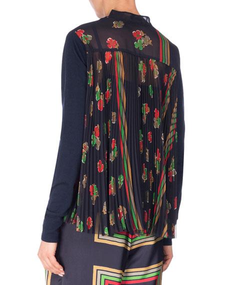 Crewneck Sweater w/Floral-Print Back