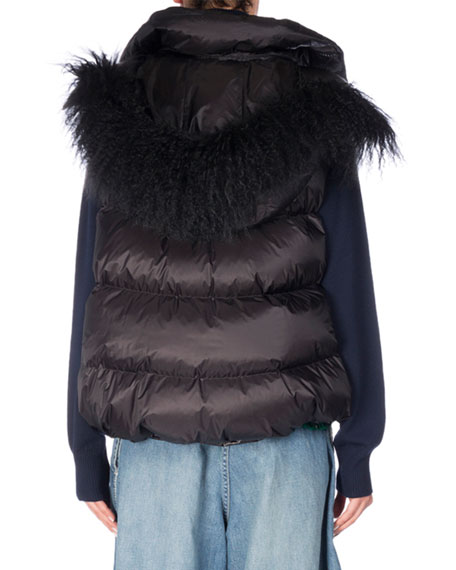 Fur-Trim Down Puffer Vest, Black
