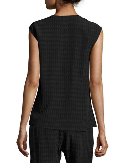 Twisted Plaid Batik Top, Black