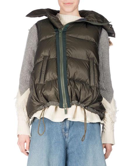 Puffer Vest w/Faux-Fur Trim, Khaki