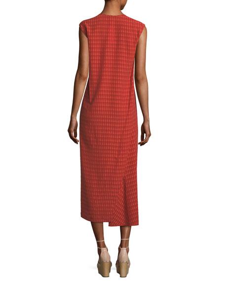 Printed Cap-Sleeve Midi Dress