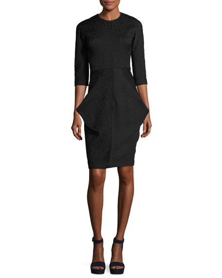 3/4-Sleeve Draped Cocktail Dress, Black