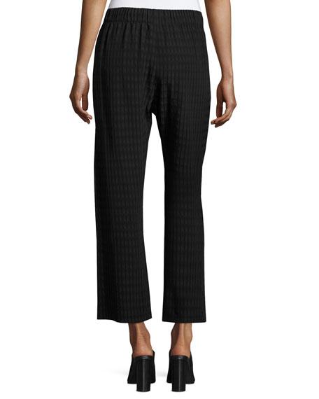 Cropped Plaid Batik Pants, Black