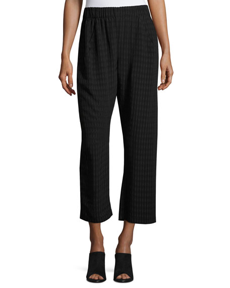 Cropped Plaid Batik Pants, Black