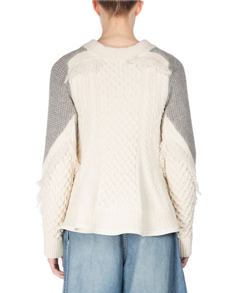 Cable-Knit Swing Pullover Sweater, White/Gray