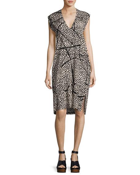 Cap-Sleeve Dot-Print Silk Dress, Multi