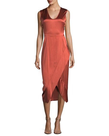 Sleeveless Scoop-Neck Satin Dress