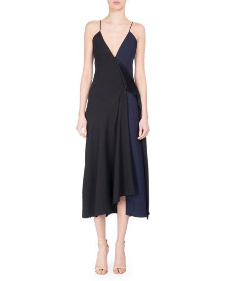 e6330f1626e Victoria Beckham V-Neck Two-Tone Bias-Cut Midi Dress, Black/Blue