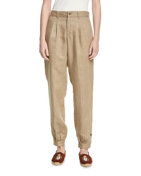 Pinstriped Linen Carpenter Pants, Brown/White