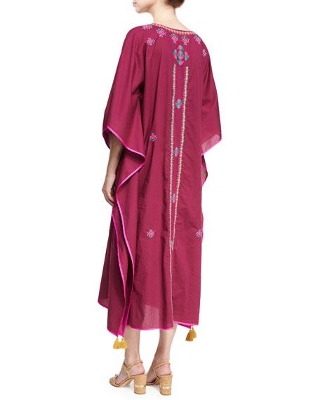 Eliza Embroidered Caftan Dress, Plum