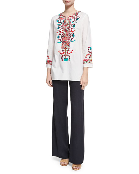 Chanda Embroidered Crepe Pants, Navy