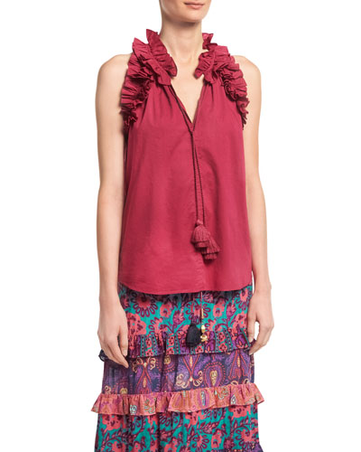 Fabiana Ruffled Cotton Top, Pink