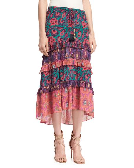 Sarita Tiered Midi Skirt, Multi