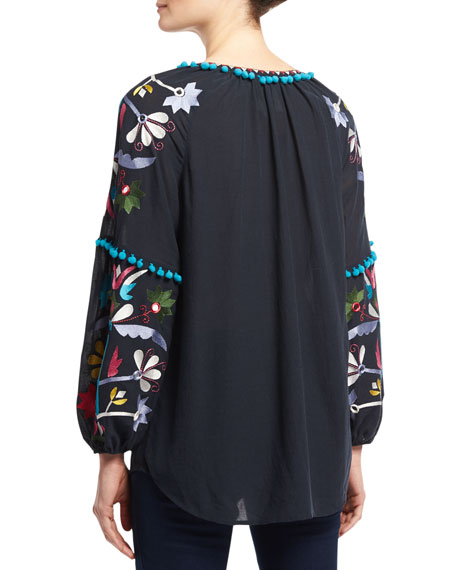 Victoria Floral-Embroidered Top, Navy