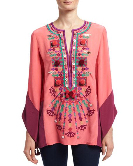 Nala Embroidered Silk Tunic, Pink
