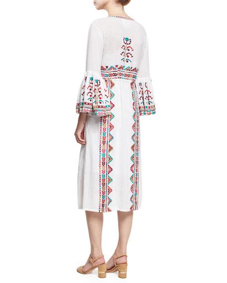 Minette Embroidered Midi Dress, White