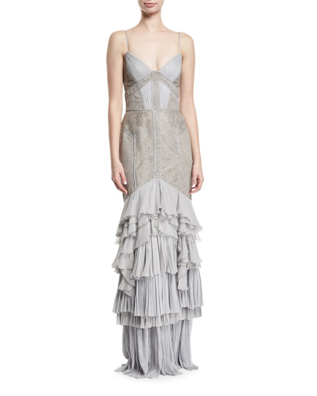Lace & Chiffon Tiered Gown, Gray