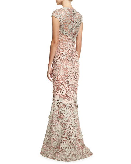 Cap-Sleeve 3D Lace Gown, Gray