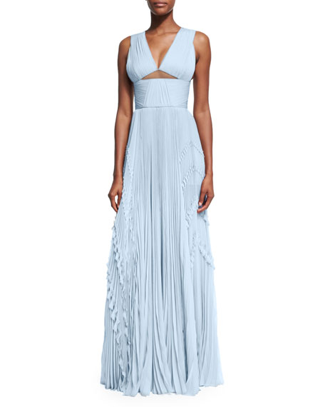 Cutout Sleeveless Pleated Organza Gown, Blue