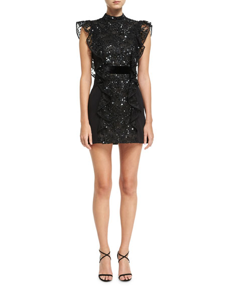 Sequined Lace Open-Back Dress, Black