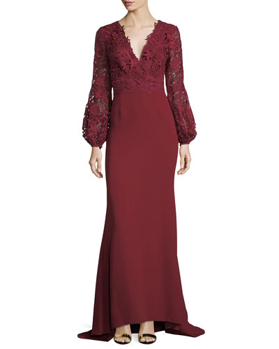 V-Neck Lace & Crepe Combo Gown