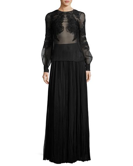 Classic Pleated Silk Maxi Skirt, Black
