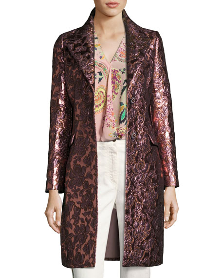 Etro Floral Brocade Single-Breasted Coat, Pink
