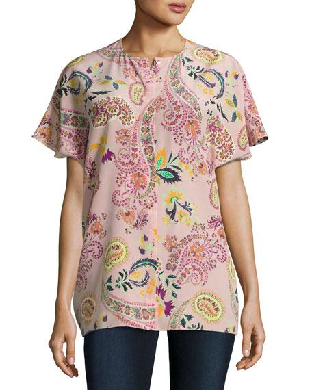 Paisley Silk Short-Sleeve Blouse