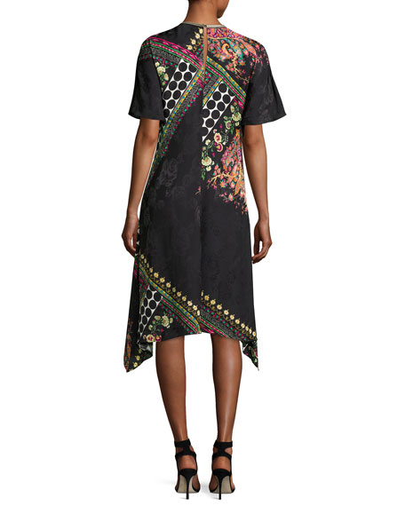 Mixed-Print Short-Sleeve Silk Dress, Black