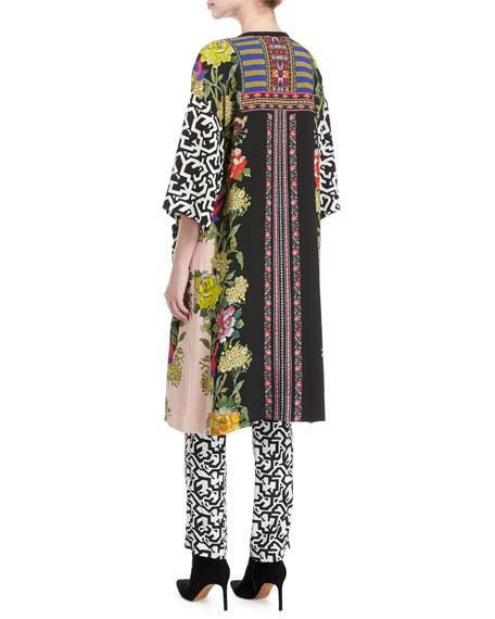 Floral & Geometric-Print Viscose Topper Coat, Pink/Multicolor