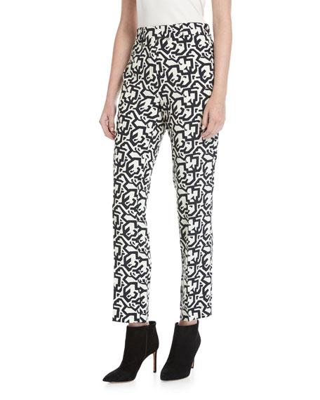 Puzzle-Print Slim-Straight Pants, Black Pattern
