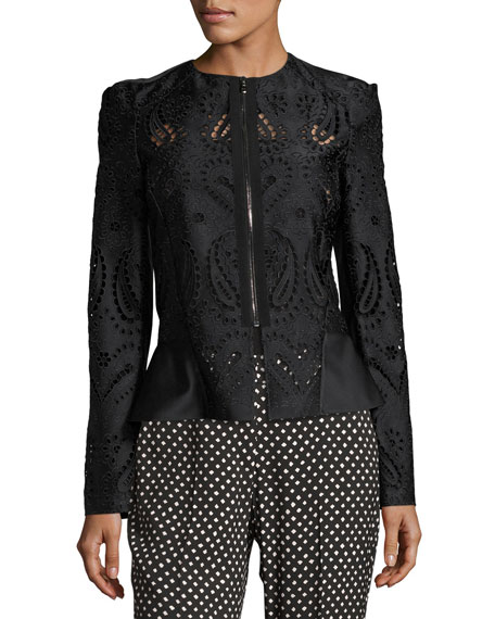 Zip-Front Eyelet Jacket, Black Pattern