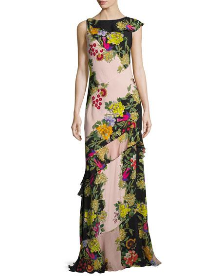 Floral-Print Bias Silk Gown, Pink  Pattern