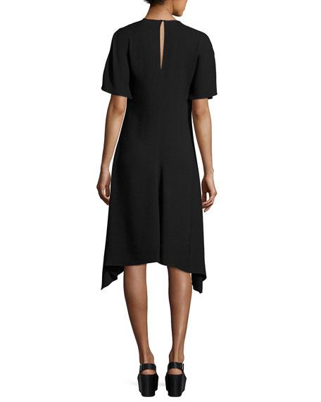 Floral-Embroidered Viscose Dress, Black Pattern