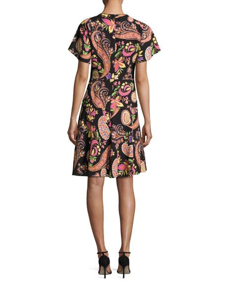 Paisley-Print Short-Sleeve Dress, Black
