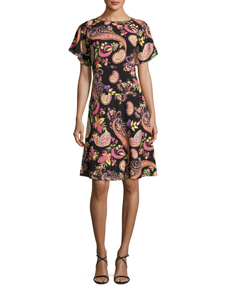 Etro Paisley-Print Short-Sleeve Dress, Black