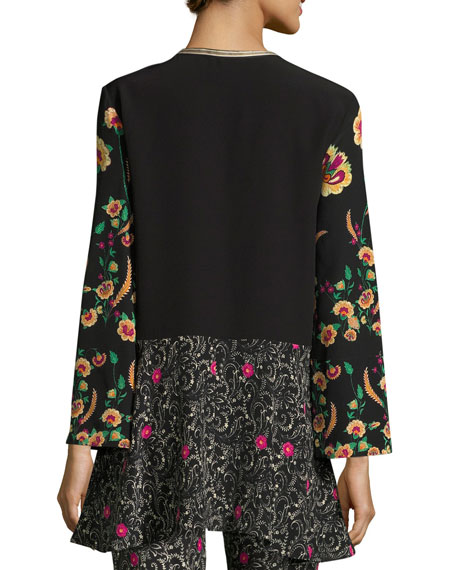 Mixed-Print Tunic Top, Black Pattern