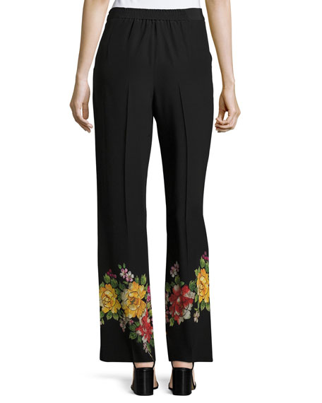 Floral-Embroidered Cropped Wide-Leg Silk Pants