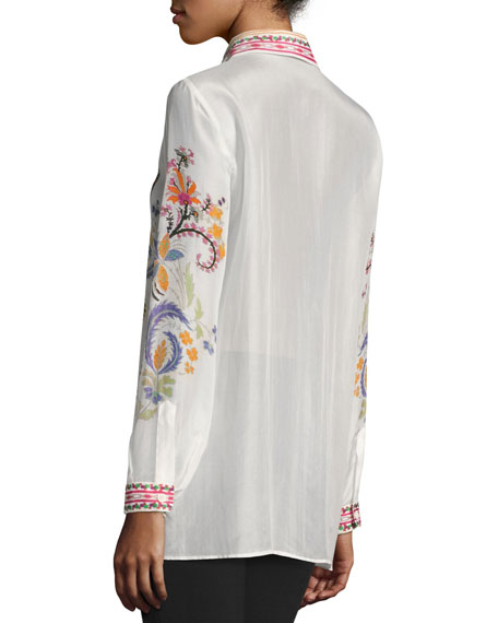 Paisley-Print Sheer Blouse, White Pattern
