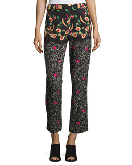 Mixed-Pattern Pants, Black