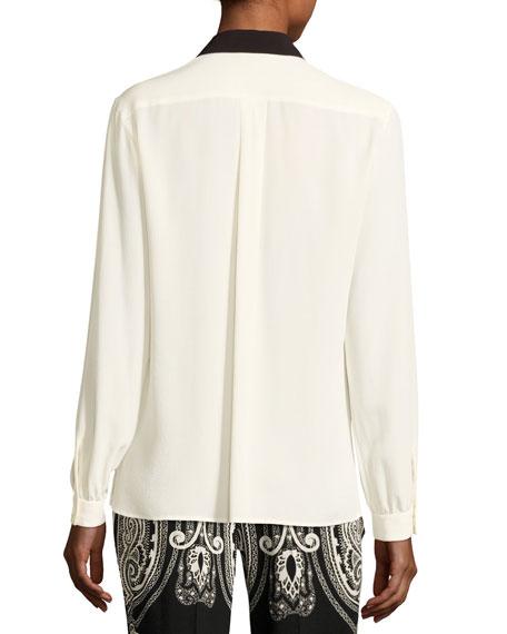 Paisley Lace-Trim Silk Blouse, White