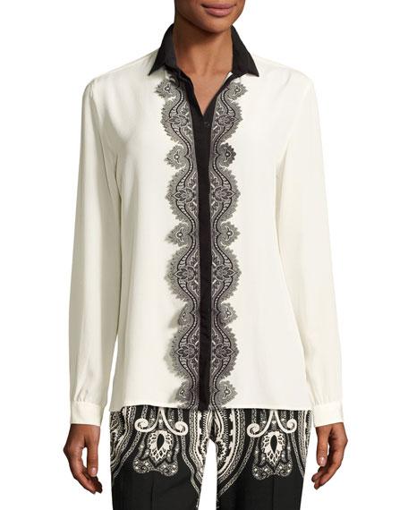 c8c02c6ba383fd Etro Paisley Lace-Trim Silk Blouse, White
