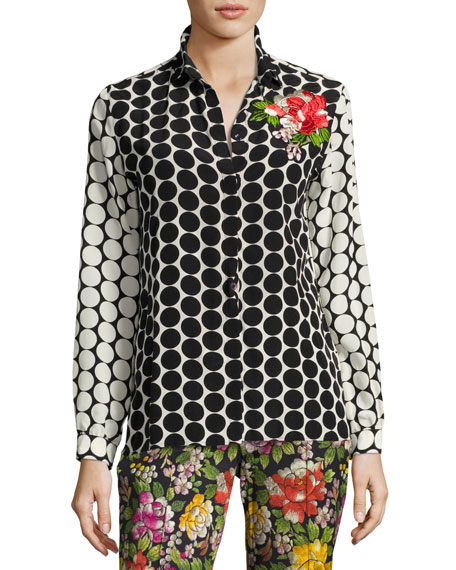 Etro Floral-Embroidered Silk Dot Blouse, Black