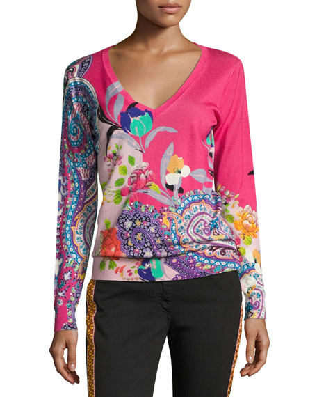 Floral Paisley Silk-Cashmere V-Neck Sweater, Pink