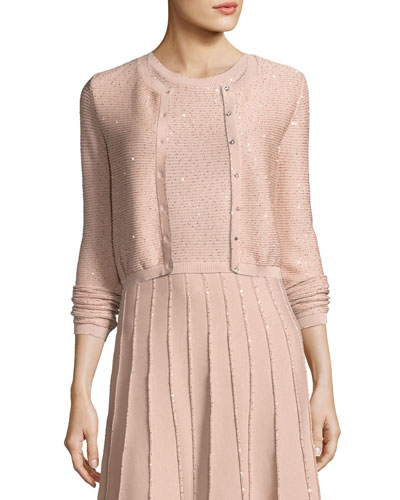 Sequined Knit Cardigan, Rose Gold