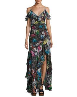 Botanical-Print Cold-Shoulder Gown, Black