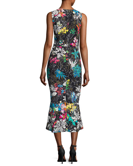 Sleeveless Botanical-Print Midi Dress, Black